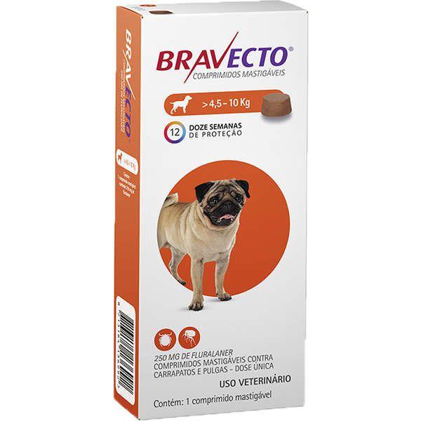 Antipulgas e Carrapatos Bravecto Comprimido Cães 4,6 a 10 Kg 250mg