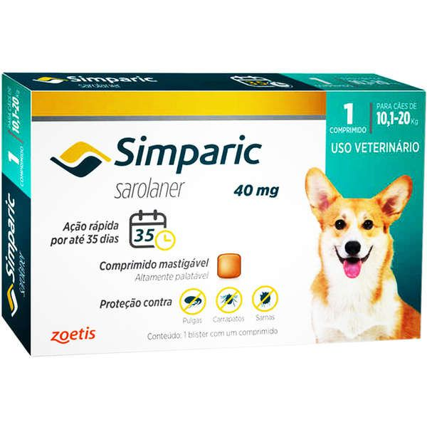 Antipulgas Simparic 40mg cães 10,1 a 20 kg 1 Comprimido