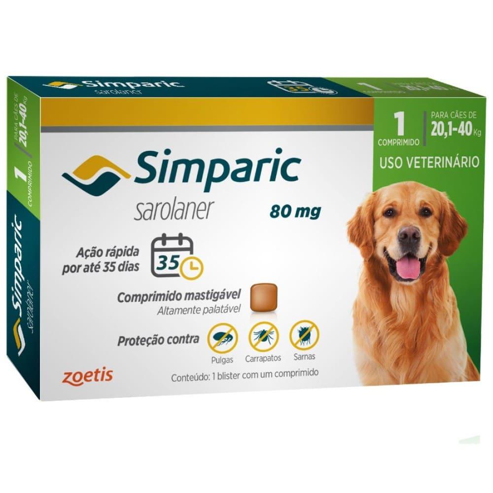 Antipulgas Simparic 80mg cães 20,1 a 40 kg 1 Comprimido