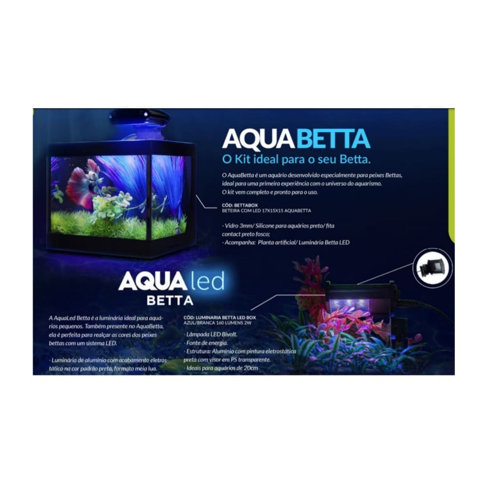 Aquário Beteira com Iluminação LED Bivolt e Decoração Aquabetta 17x15x15cm