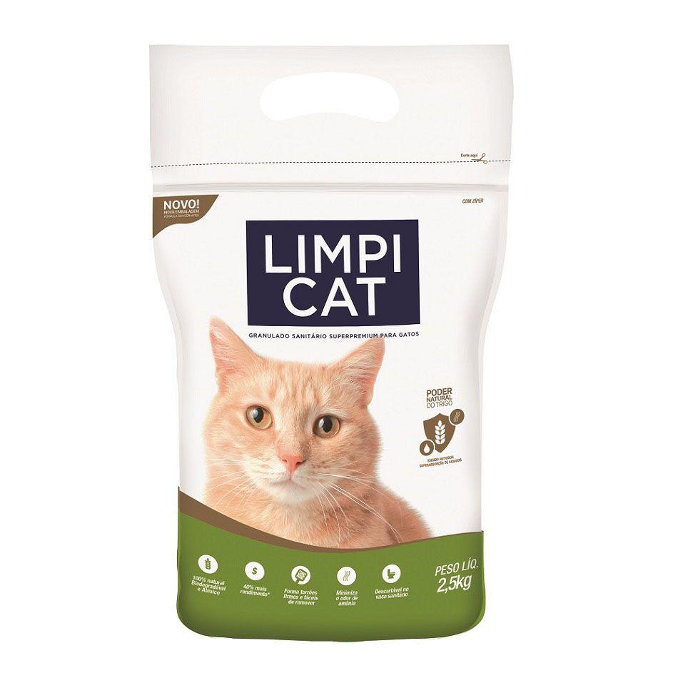Areia Sanitária para Gatos a base de Trigo Limpi Cat 2,5 kg