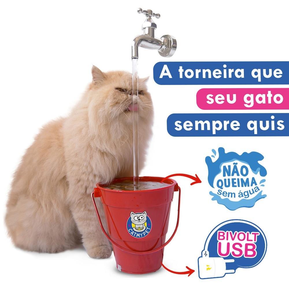 Bebedouro Para Gatos Toneira Mágica Magicat CatMyPet Vermelha NOVO MODELO BIVOLT