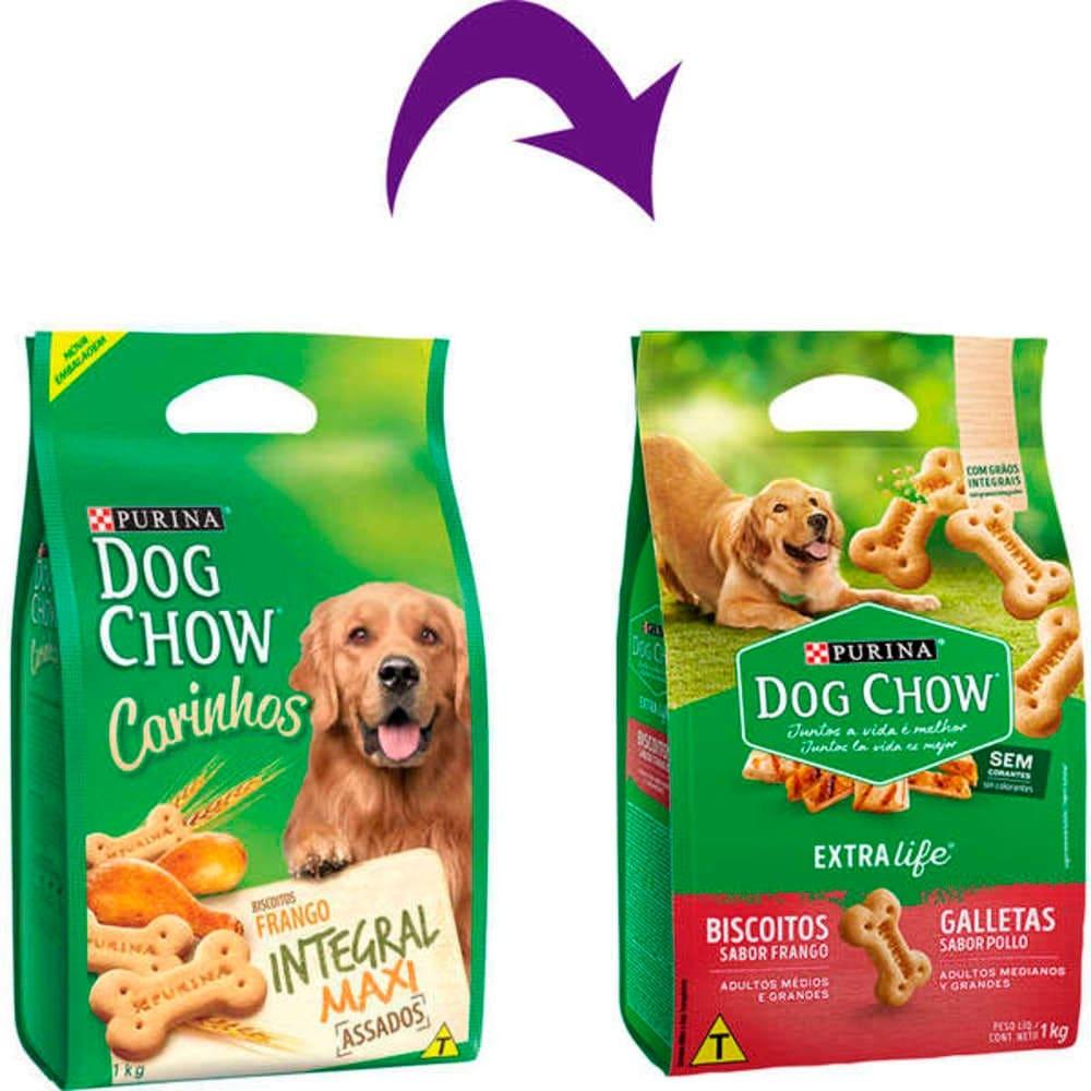 Biscoito Integral Dog Chow para Cães Adultos Médios e Grandes Frango 1Kg