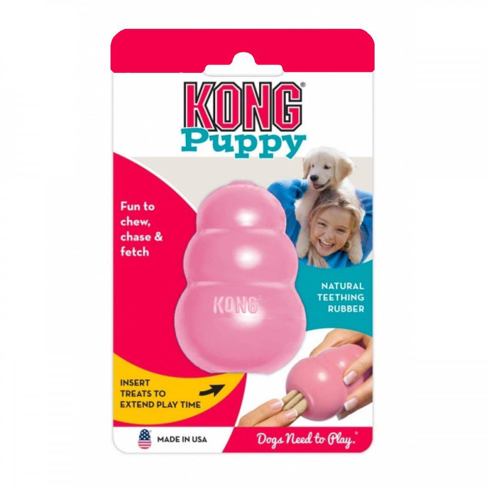 Brinquedo Interativo Kong Puppy Cães Filhotes Rosa Grande