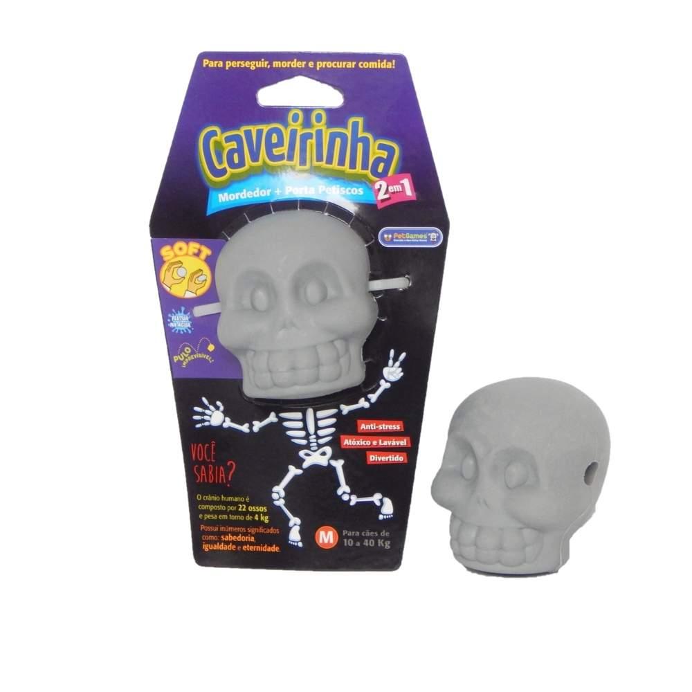 Brinquedo Interativo PetGames Mordedor e Porta Petisco Caveirinha