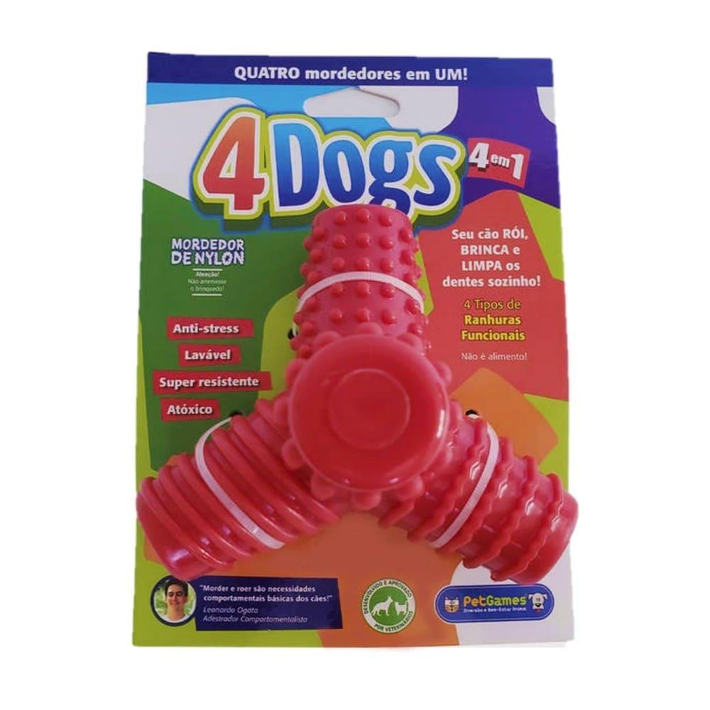 Brinquedo Mordedor 4em1 Cães Raças Médias Petgames 4 Dogs