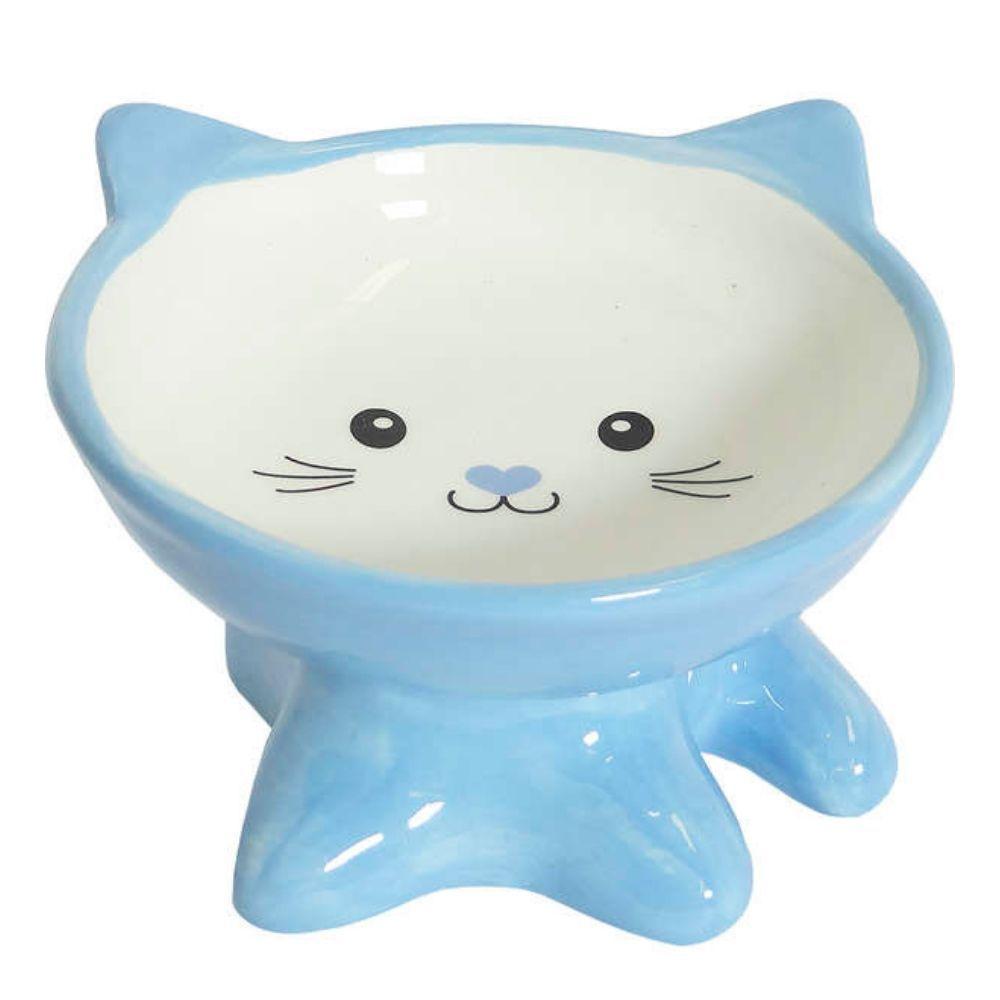 Comedouro de Cerâmica Elevado para Gatos Rostinho Azul