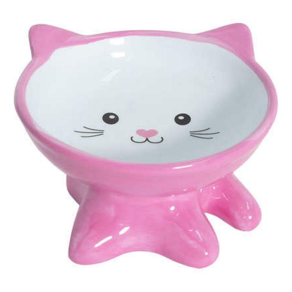 Comedouro de Cerâmica Elevado para Gatos Rostinho Rosa