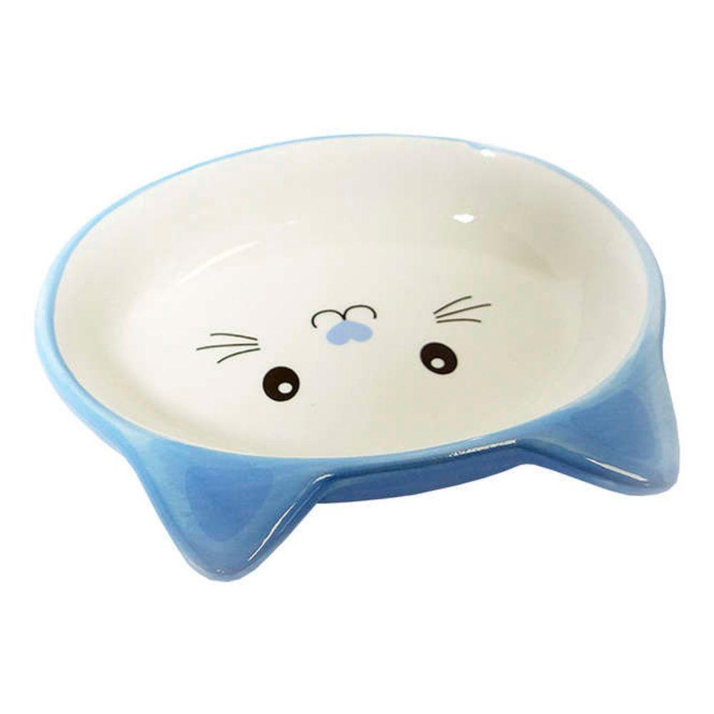 Comedouro de Cerâmica para Gatos Rostinho Azul