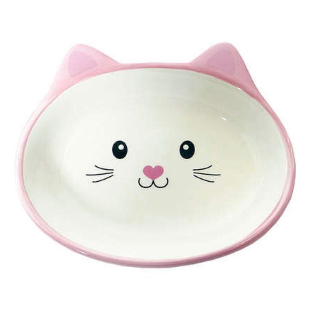 Comedouro de Cerâmica para Gatos Rostinho Rosa