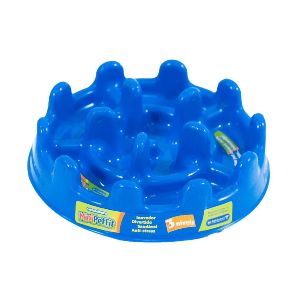 Comedouro Funcional Lento Petgames Mini Pet Fit Azul