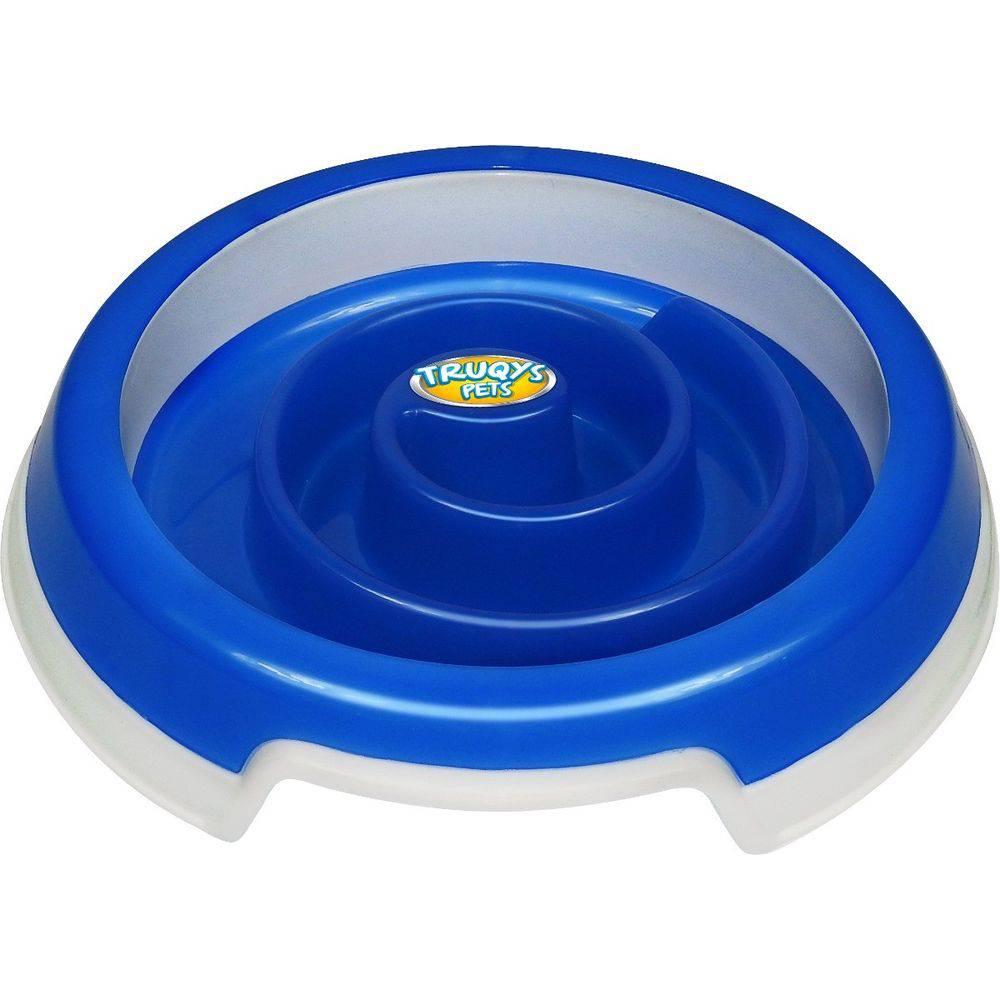 Comedouro Lento Para Cães Truqys Slow Food Médio Azul