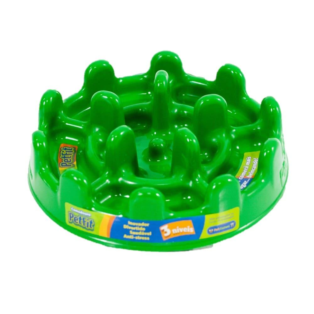 Comedouro Lento Petgames Pet Fit Verde