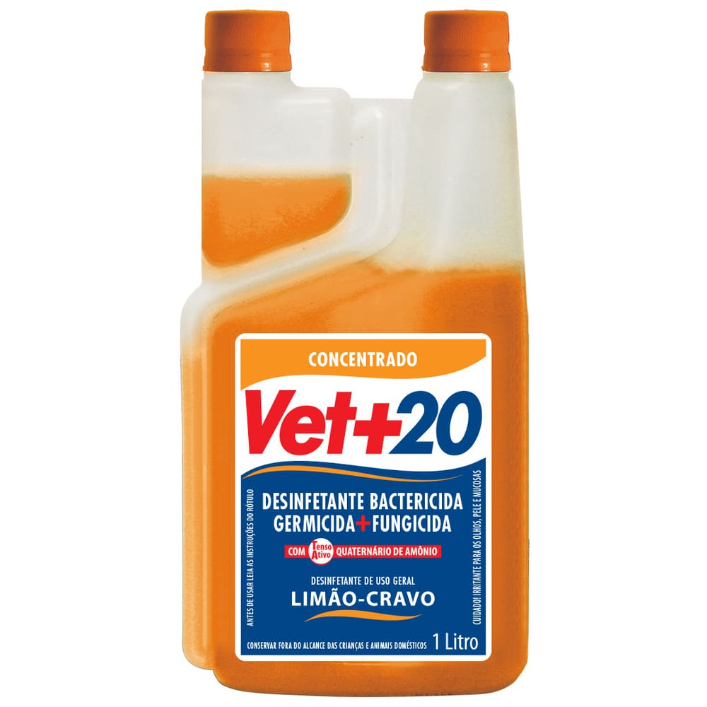 Desinfetante Concentrado Bactericida VET+20 Limão-Cravo 1L