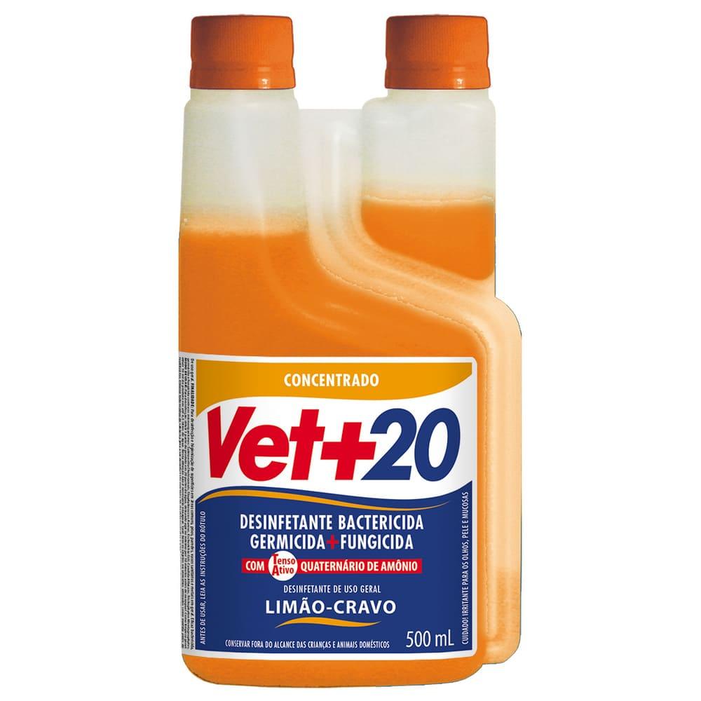 Desinfetante Concentrado Bactericida VET+20 Limão-Cravo 500ml
