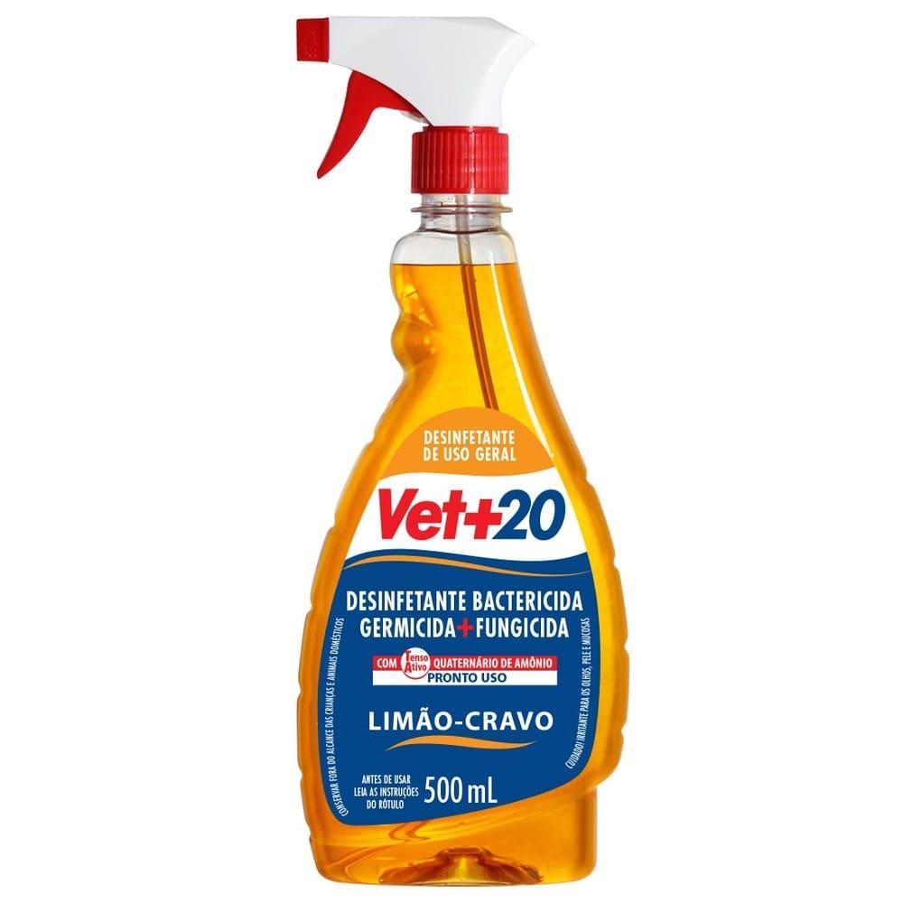 Desinfetante Pronto para Uso em Spray VET+20 Limão-cravo 500ml
