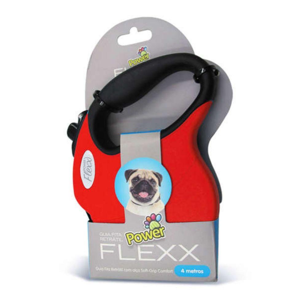 Guia de Fita Retrátil Power Flexx Para Cães com Até 10kg - 4 metros