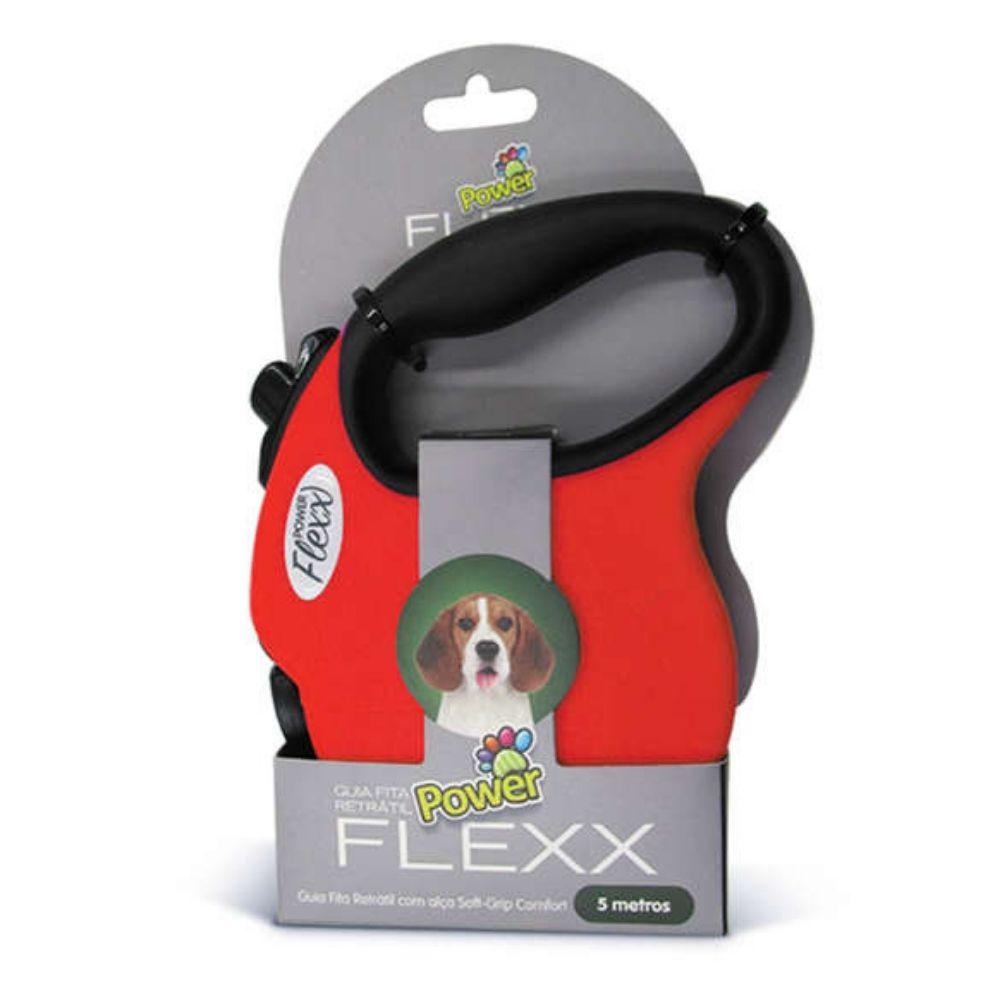 Guia de Fita Retrátil Power Flexx para Cães até 20kg - 5 metros