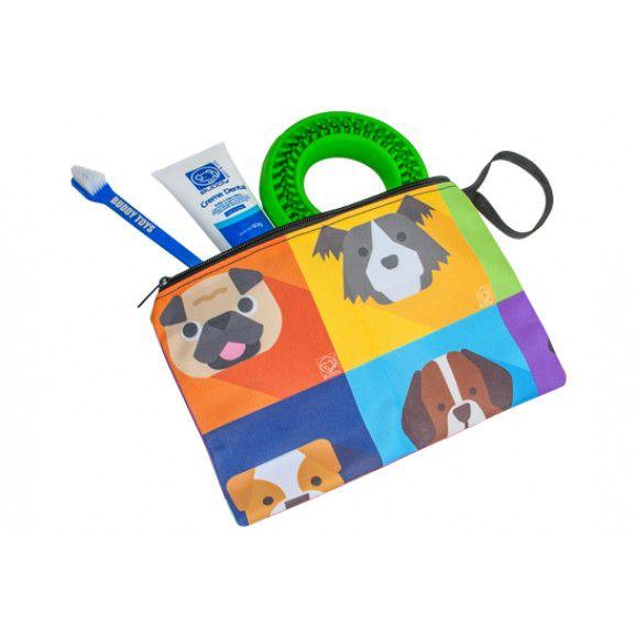 Kit Dental Buddy para Cachorros com Pasta de Dentes e Brindes: Escova de Dentes + Necessaire