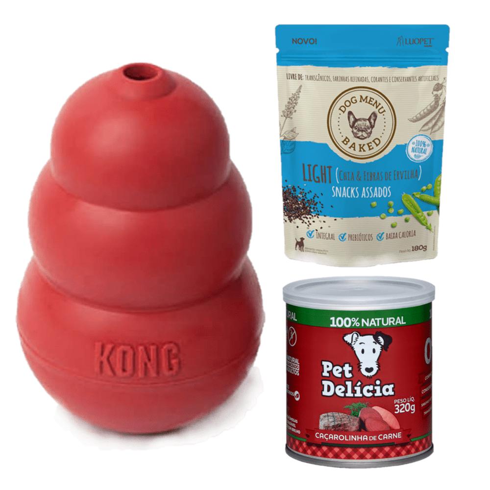 Kong Classic Médio (T2) + Pet Delícia Carne + LuoPet Light