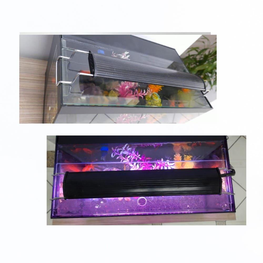 Luminária LED para Aquário de 50 a 60cm Aquaterrário Branca/Azul/Rosa 32W 1910 Lumens