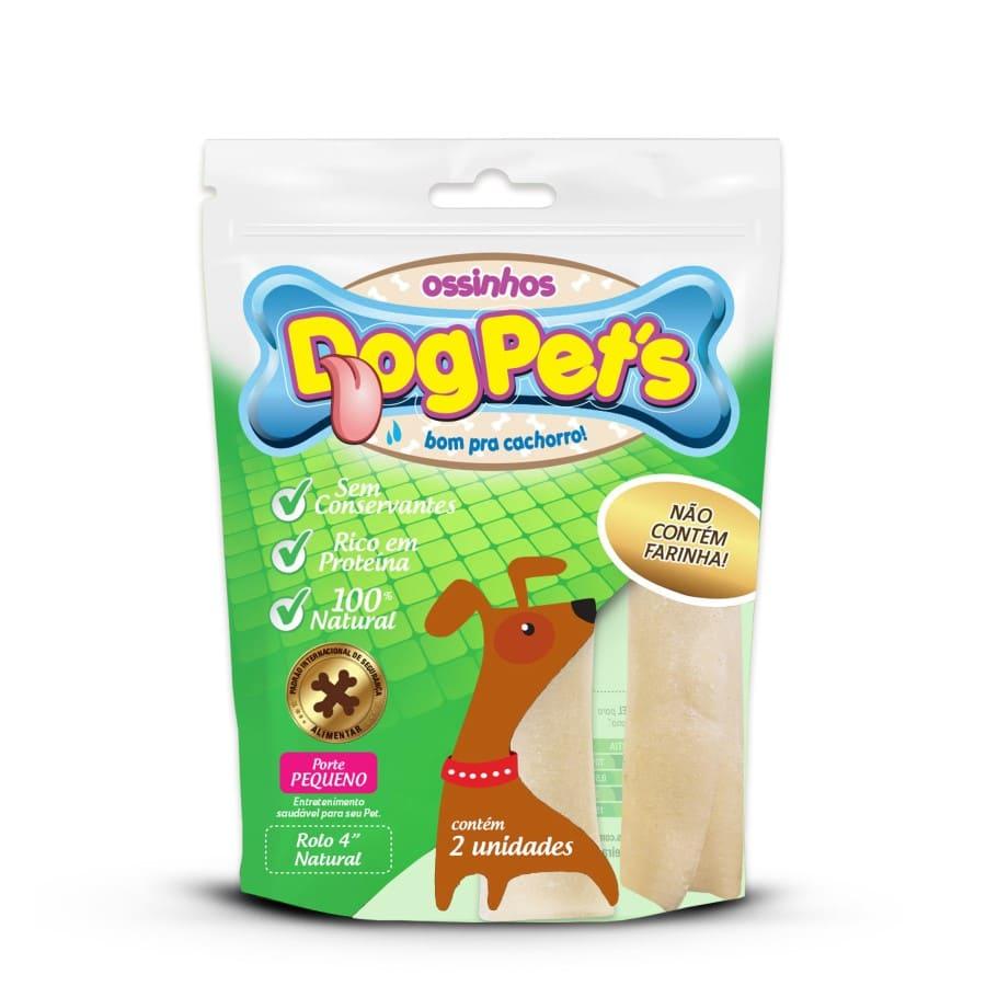 Ossinhos DogPets Rolo Natural 9cm Cães Pequeno Porte 6 uni
