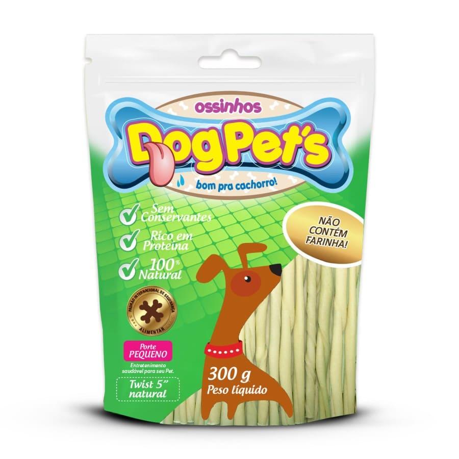 Ossinhos DogPets Twist Natural 11cm Cães Pequeno Porte 300g