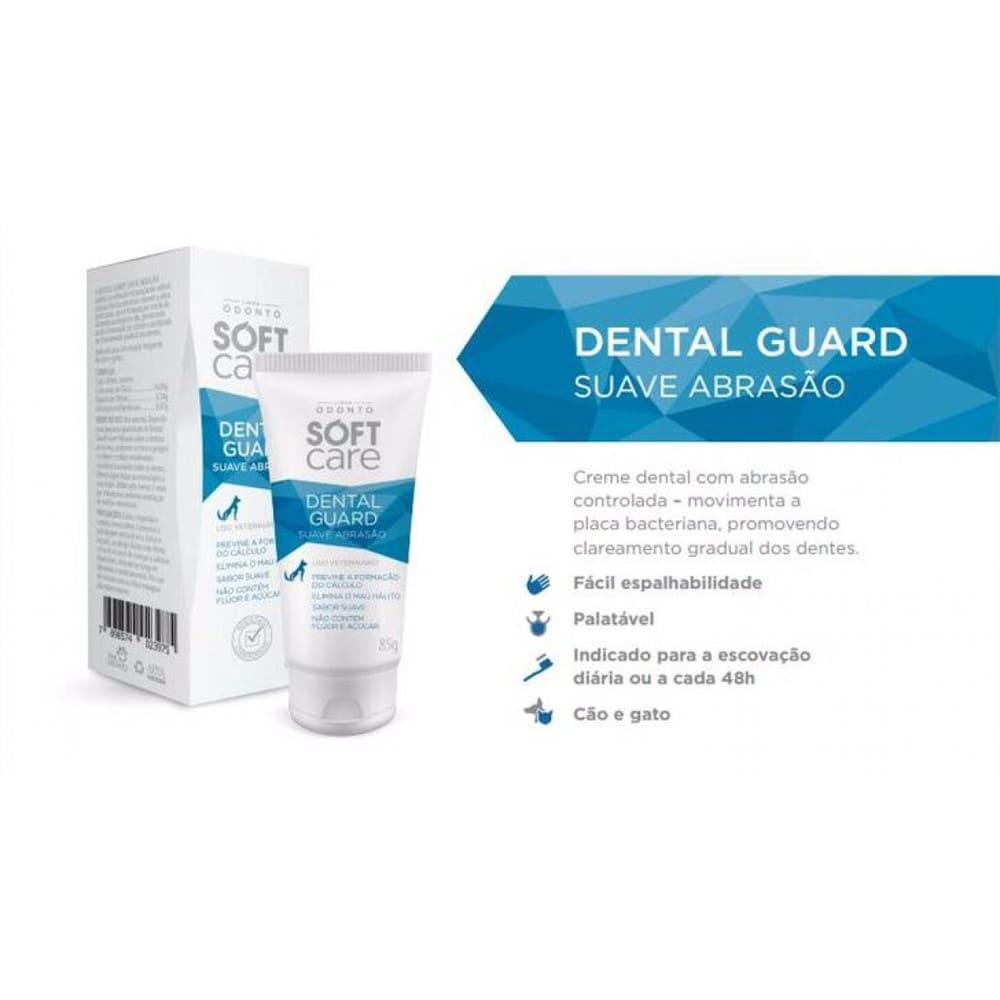 Pasta de Dentes Para Cães e Gatos Soft Care Dental Guard Suave Abrasão 85g