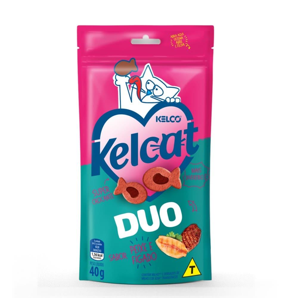 Petisco para Gatos Kelcat Snacks Duo Sabor Peixe e Fígado 40g