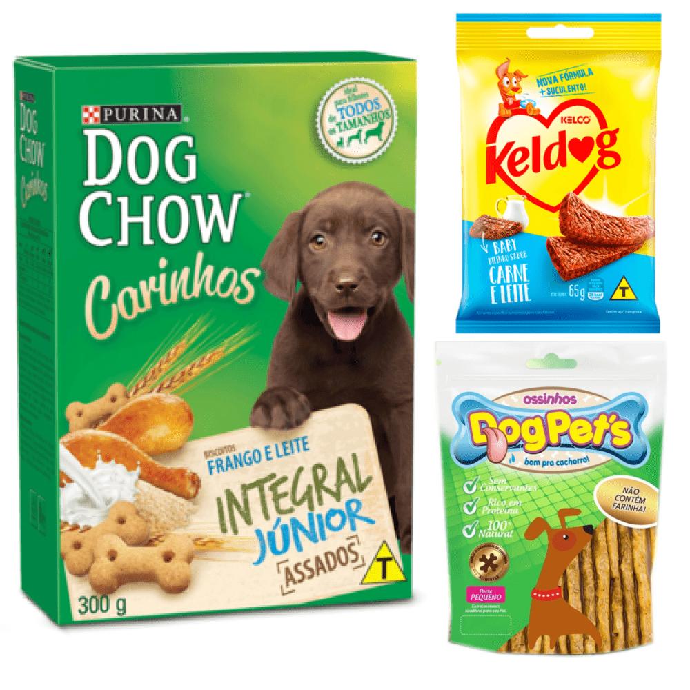 Petiscos Cães Dog Chow Filhote+Bifinho Baby+DogPets Ossinho