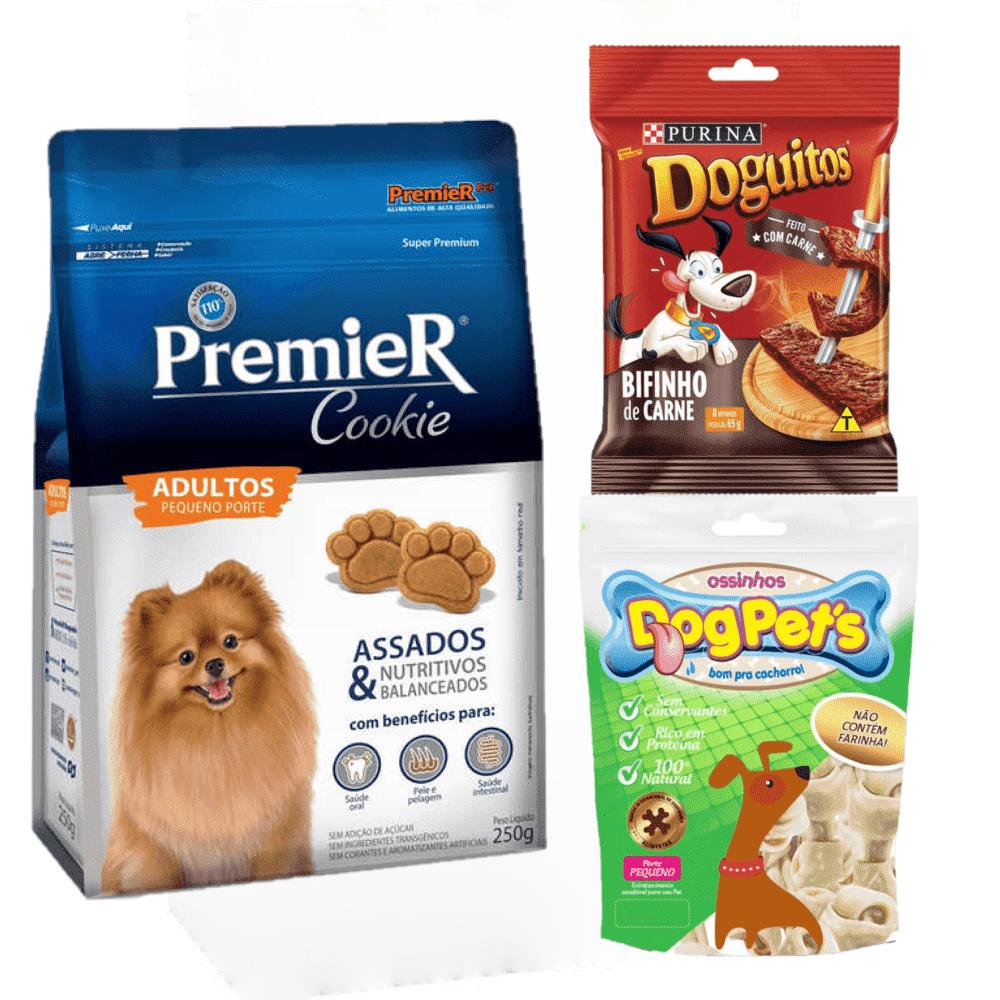 Petiscos Cães Premier Cookie+Bifinho Doguitos+Ossinhos
