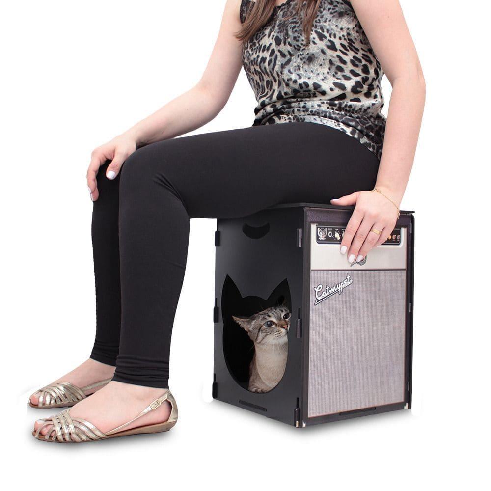 Puff Quadrado Toca e Arranhador Gatos CatMyPet Rock Meow