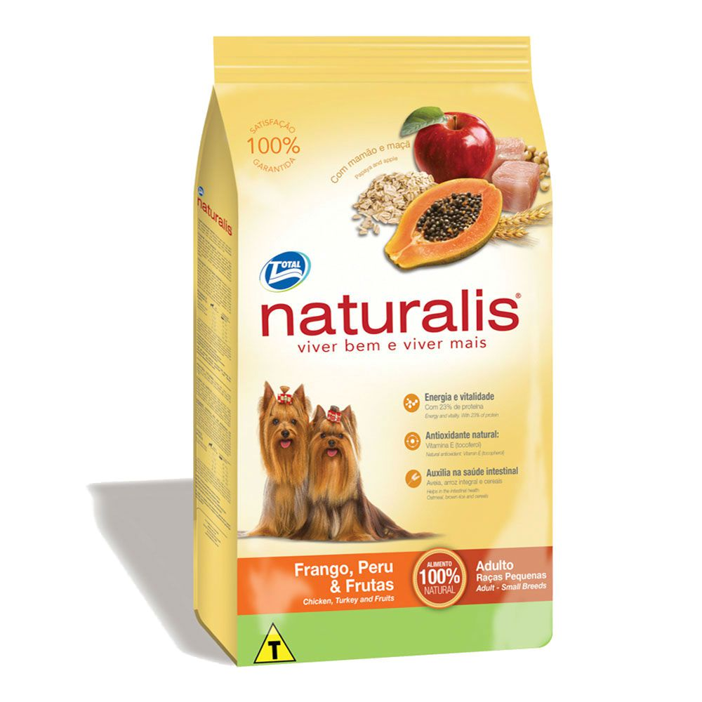 Ração Naturalis Cães Raças Pequenas Frango,Peru e Frutas 8Kg