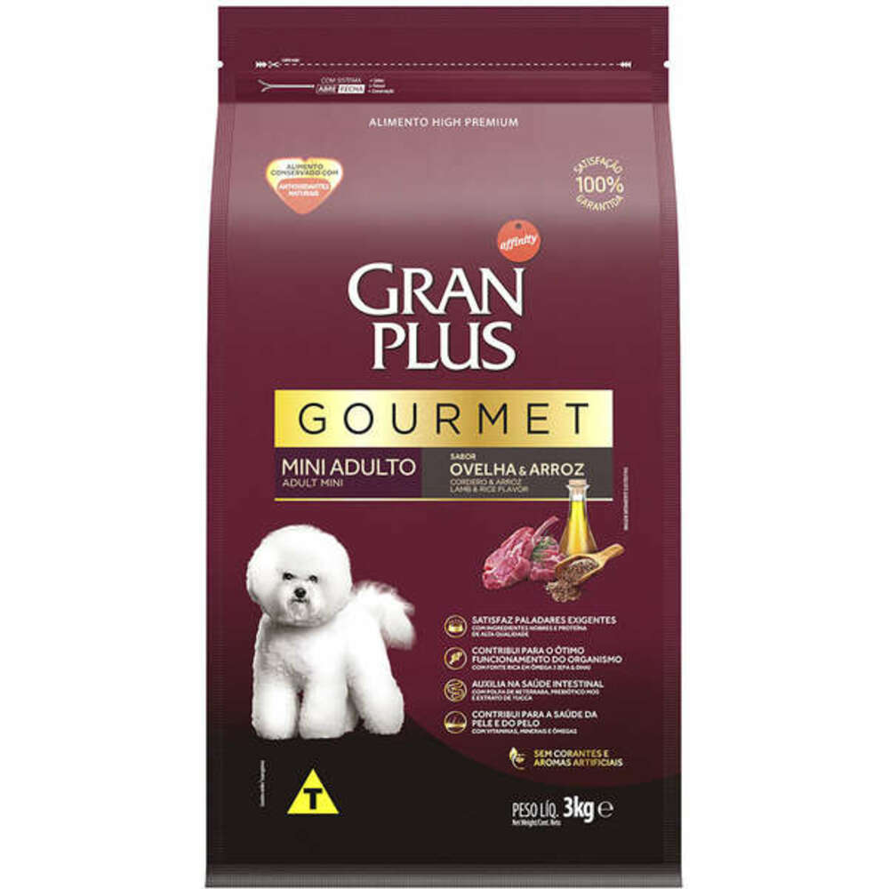 Ração para Cães Raças Pequenas GranPlus Gourmet Ovelha e Arroz 3Kg