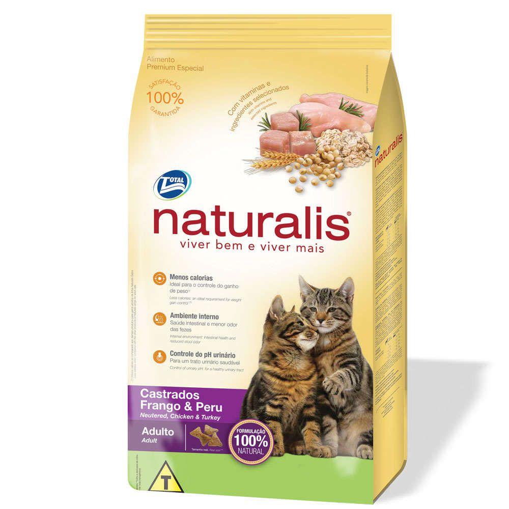 Ração para Gatos Castrados Naturalis Frango e Peru