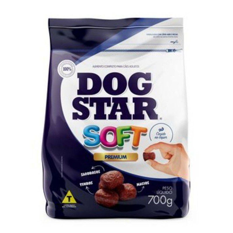 Ração Premium para Cães Dog Star Soft Grãos Macios e Semiúmidos 700Gr