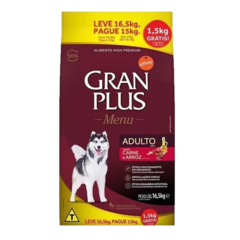 Ração Premium para Cães Gran Plus Menu Carne e Arroz Promoção 16,5kg
