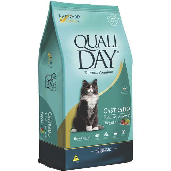 Ração Qualiday Premium Especial Gatos Castrados Salmão, Arroz e Vegetais 20Kg