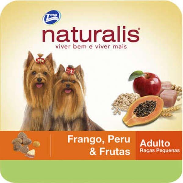 Ração Seca para Cães de Raças Pequenas Naturalis Frango,Peru e Frutas 2Kg