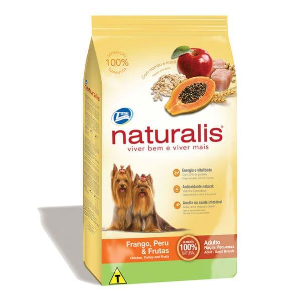 Ração Seca para Cães de Raças Pequenas Naturalis Frango,Peru e Frutas 8Kg