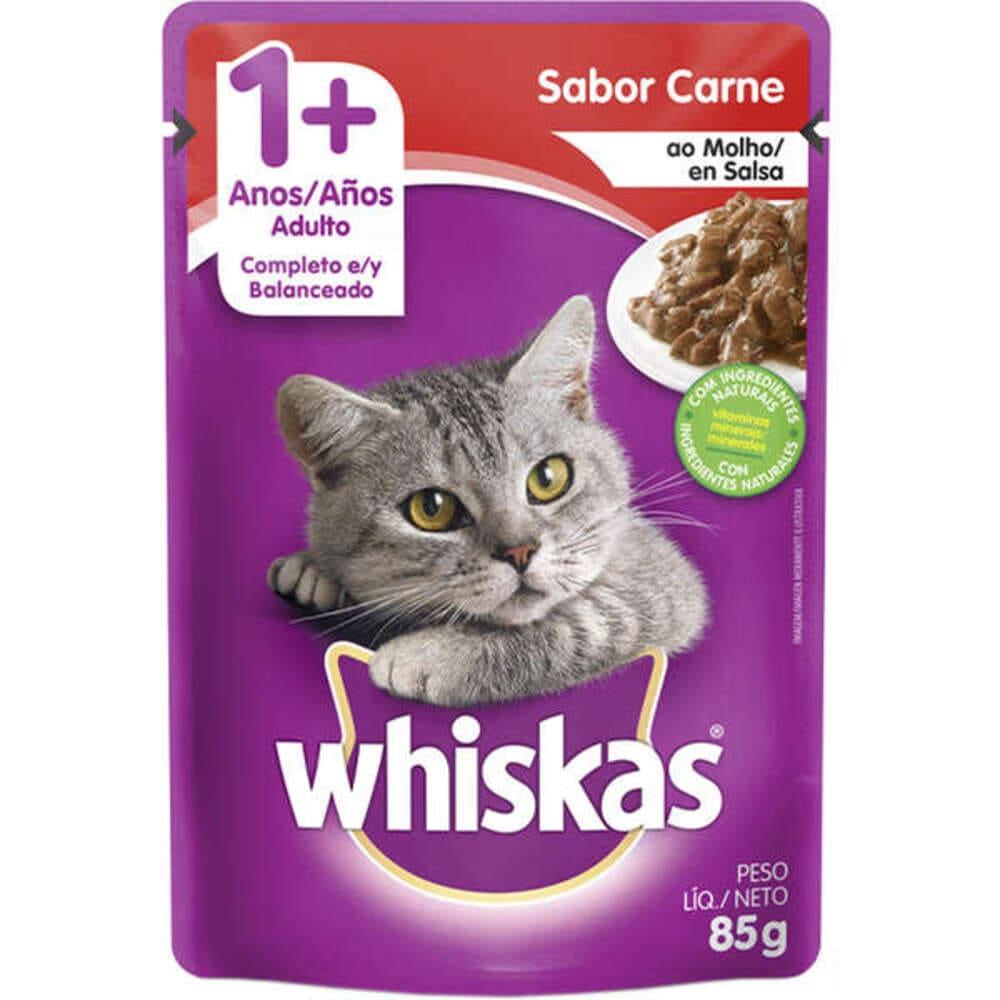 Ração Úmida para Gatos Whiskas Sachê Carne ao Molho 85g