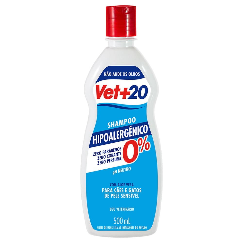 Shampoo para Cães e Gatos VET+20 Hipoalergenico 500ml