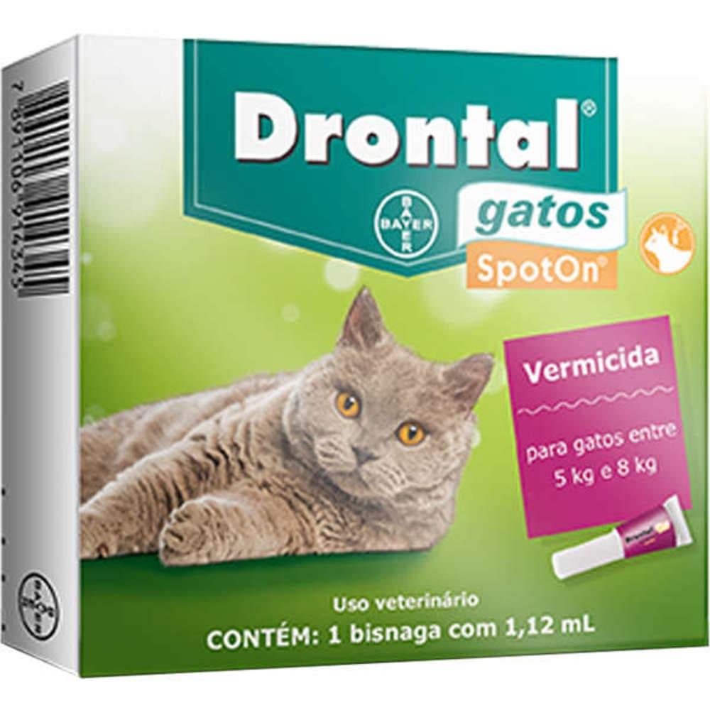 Vermífugo para Gatos em Bisnaga  Drontal SpotOn 5 a 8 Kg