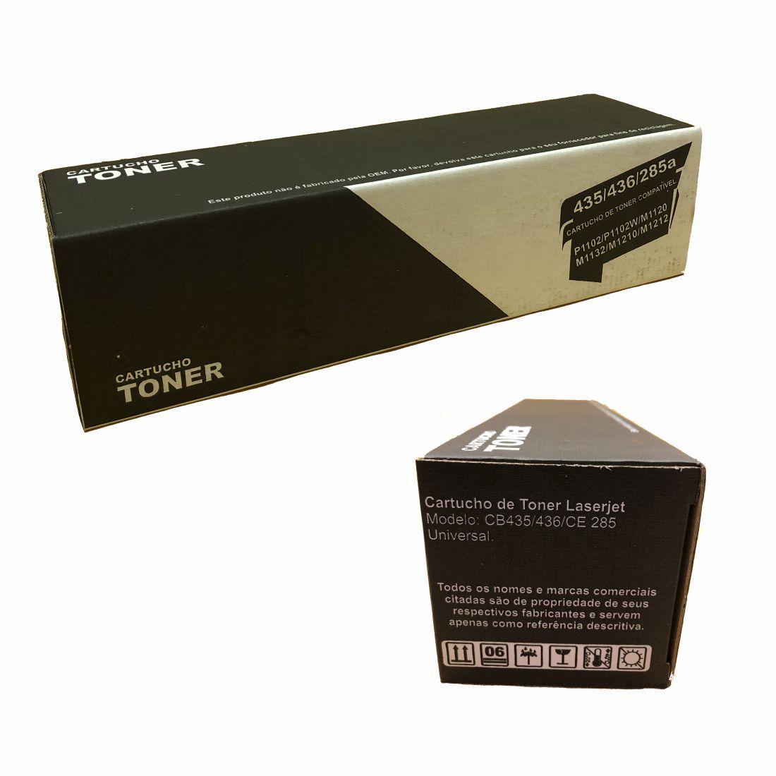6b0e205d4 ... Kit 10 Peças de Toner Universal Compatível com Hp Ce285 85a Cb435 35a  Cb436 36 ...