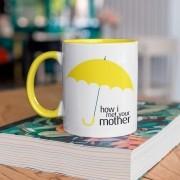 Caneca Com Alça e interior Amarelo Yellow Umbrella