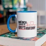 Caneca Com Alça e interior Azul Médica formada em Greys Anatomy
