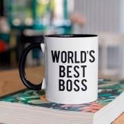 Caneca Com Alça e interior Preto Worlds Best Boss