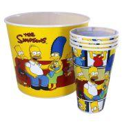 Kit Balde Pote de Pipoca Familia Os Simpsons