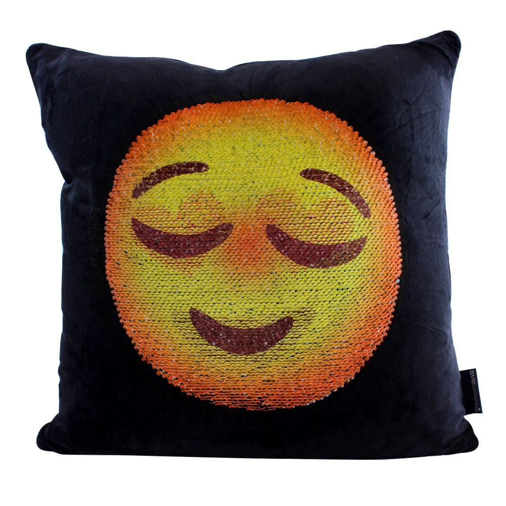 Almofada Lantejoula Emoji Aliviado Apaixonado