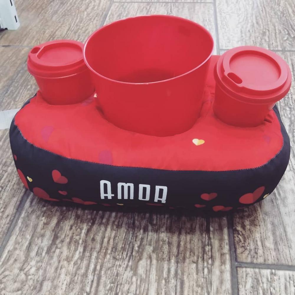 Almofada Porta Pipoca Amor Kit 1 Balde e 2 copos